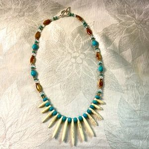 White and blue turquoise necklace